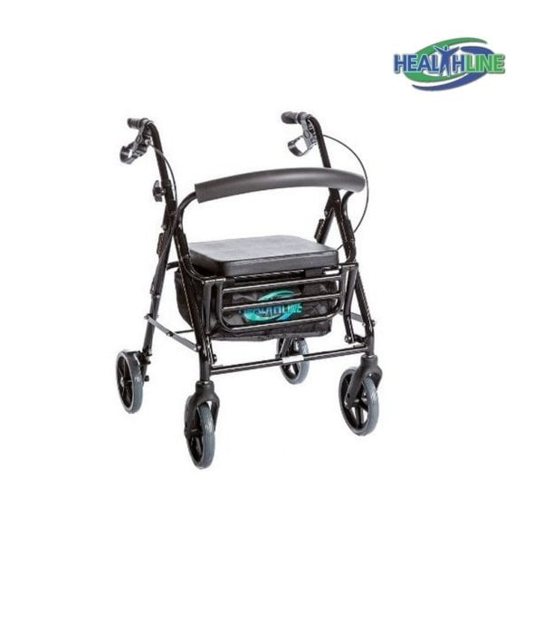 Combo Transport Rollator Chair W/8″ Wheels, Loop Brakes & Pouch Black