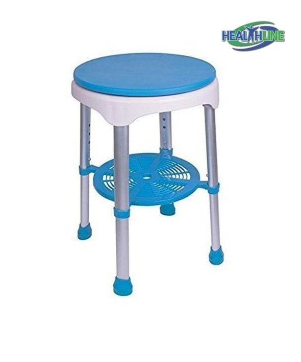 Bath Bench Round Stool With Padded Rotating Seat, White with Blue Seat and Adjustable Height
