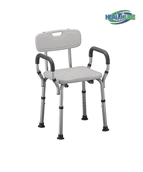 Bath Seat Shower Bench with Arms White and Adjustable Height (W/BACK)