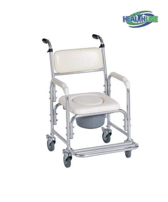 Aluminum Shower Chair with Commode Opening and Wheels