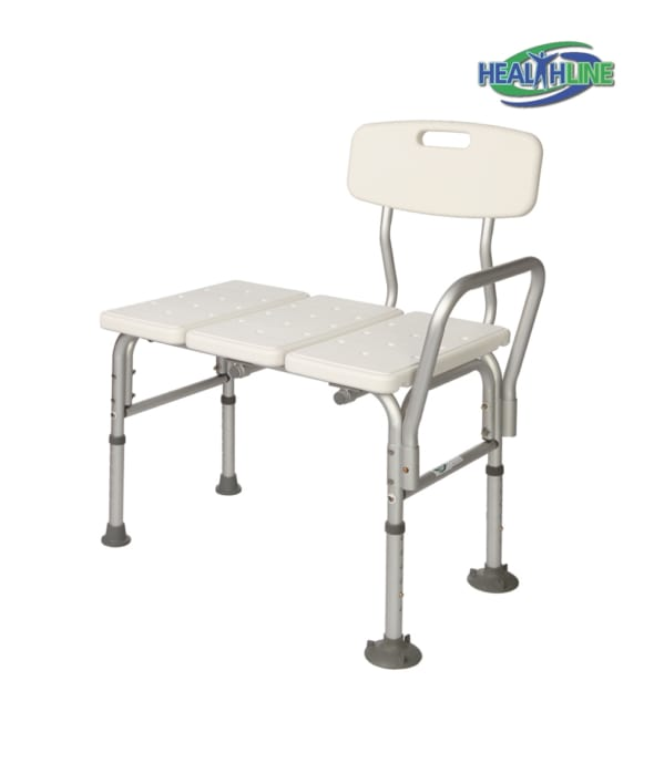 Transfer Bench Adjustable Height Legs, Lightweight with Back Non-slip Seat Tool Free