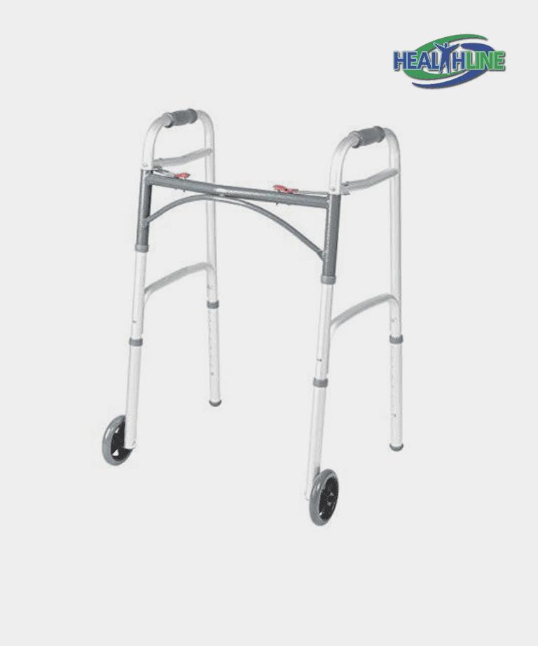 Folding Walker Deluxe w/ Front 5″ Wheels