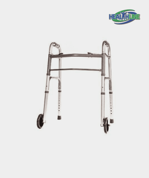 Folding Walker Junior Deluxe 2 Button with Front 5″ Wheels