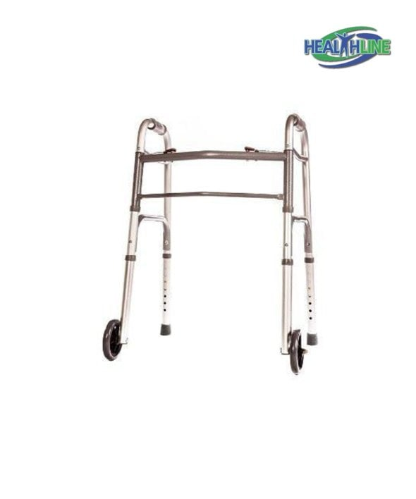 Folding Walker Junior Deluxe 2 Button with Front 5″ Wheels and Adjustable Height