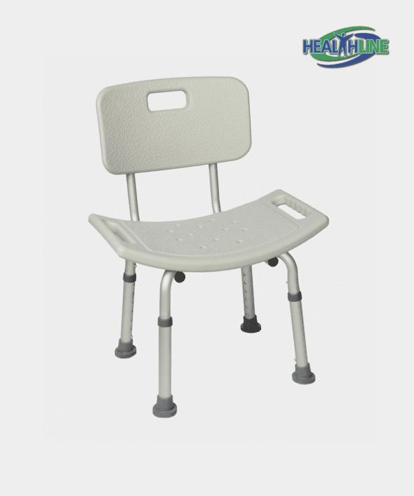 Bath Bench w/Back Tool Free Aluminum W/Adjustable Height