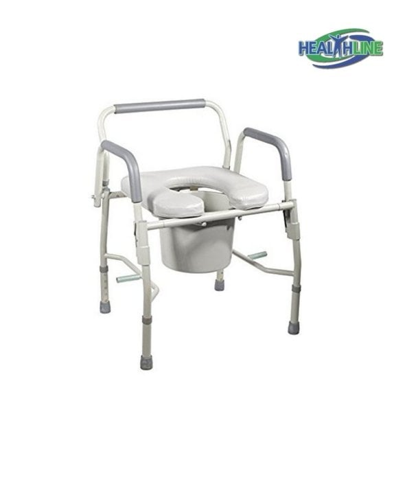 Commode Bedside Drop Arm with Arms, Adjustable Legs and Padded Seat