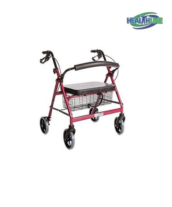 Bariatric Rollator Walker Heavy Duty with Large Padded Seat up to 400 Lb Capacity