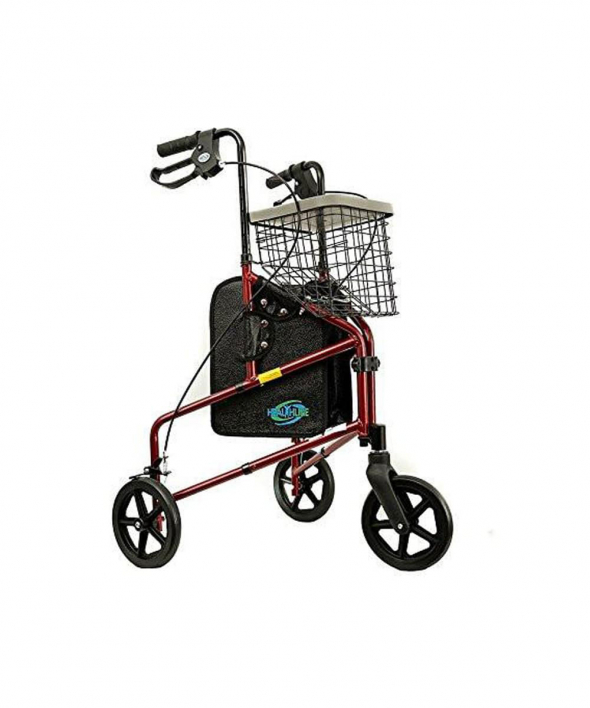 3 Wheel Rollator Walker With Basket Red