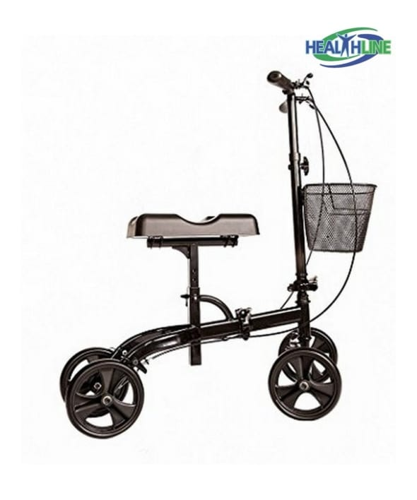 Knee Walker Scooter Steerable W/Both Side Handle Brake and Basket