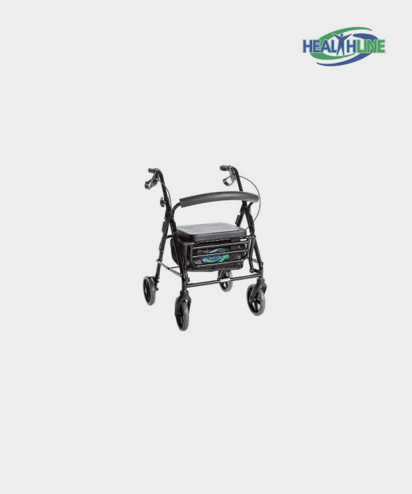 Combo Transport Rollator Chair W/8″ Wheels, Loop Brakes & Pouch Black