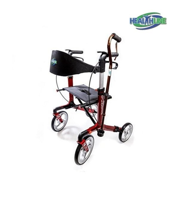 "Walker Rollator ""Atlantis"" With 10″ Wheels Fold Up Removable Back Support, Red"