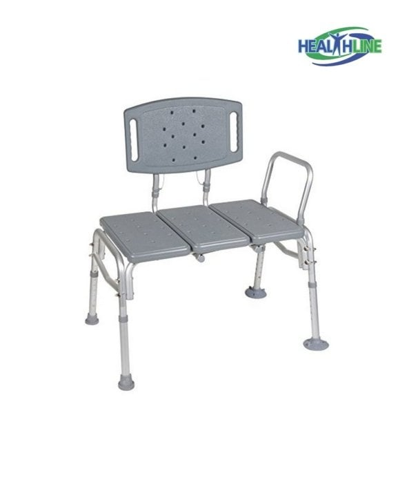 Heavy Duty Transfer Bench Adjustable Height Legs with Back Non-slip Seat Tool Free