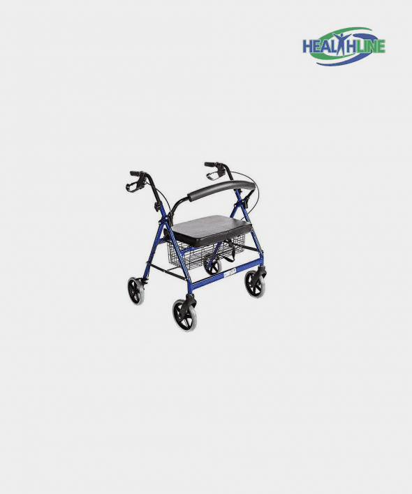 Bariatric Rollator Walker Heavy Duty with Large Padded Seat up to 400 Lb Capacity (BLUE)