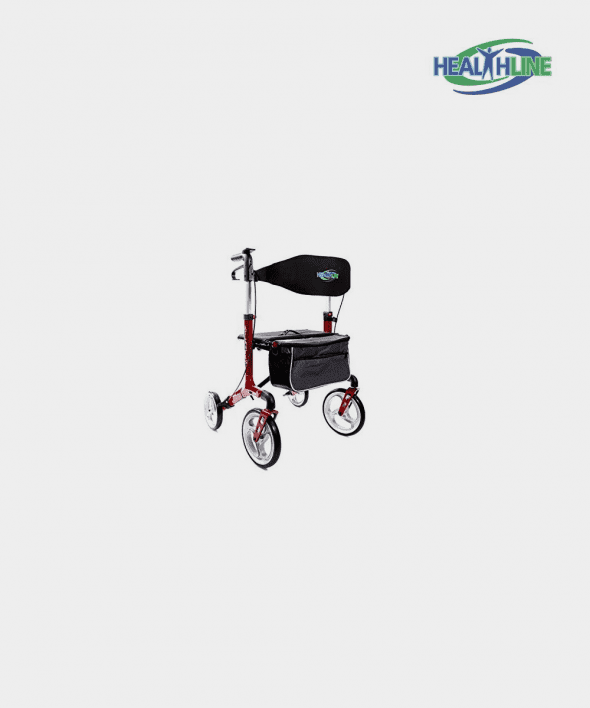 """Walker Rollator """"Atlantis"""" With 10″ Wheels Fold Up Removable Back Support, Red"""