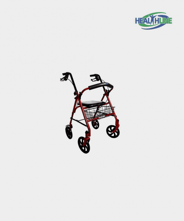 Walker Rollator with 7.5″ Four Wheels Fold Up Removable Back Support, Red