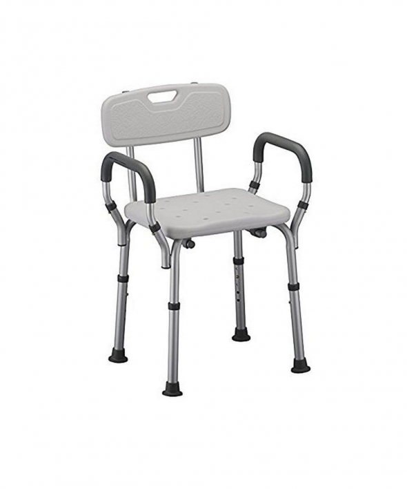 Bath Seat Shower Bench with Arms White