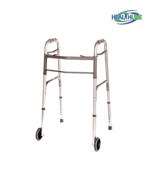 Folding Walker Deluxe w/ Front 5″ Wheels, Adjustable Height and Glides