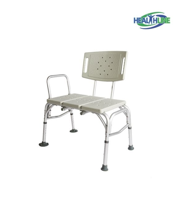 Heavy Duty Transfer Bench W/back White and Adjustable Height Legs