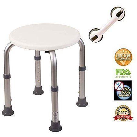 HEALTHLINE Round Shower Stool for Bathtub with Free Balance Assist Suction Grab Bar, Lightweight Adjustable Compact Small Shower Stool Bath Bench Round Shower Chair for Seniors, Disabled, White