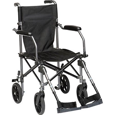 HEALTHLINE Super Light Wheelchair, Ultra Lightweight Folding Transport Wheelchair with Brakes, Elevating Leg Rest and Carry Travel Bag and and Extra Rear Transport Wheelchair Back Pack, 19 Inch Seat