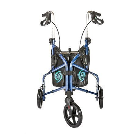3 Wheel Rollator Walker With Basket, Tray, and Pouch, Medical Walker Mobility Folding Rollator, Three Wheel Walker Lightweight Aluminum Rollator for Seniors, Elderly, Adults, Disabled, Blue