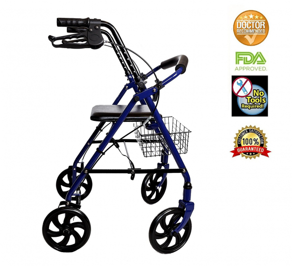 Walker Rollator with 7.5″ Four Wheels Fold Up Removable Back Support (BLUE)