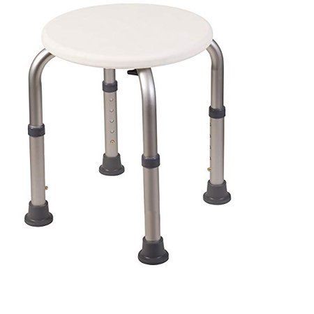 Healthline Bath Round Stool, Shower Bench, Adjustable, Lightweight, Compact bathroom chair, with Non-Slip Seat and Legs, White